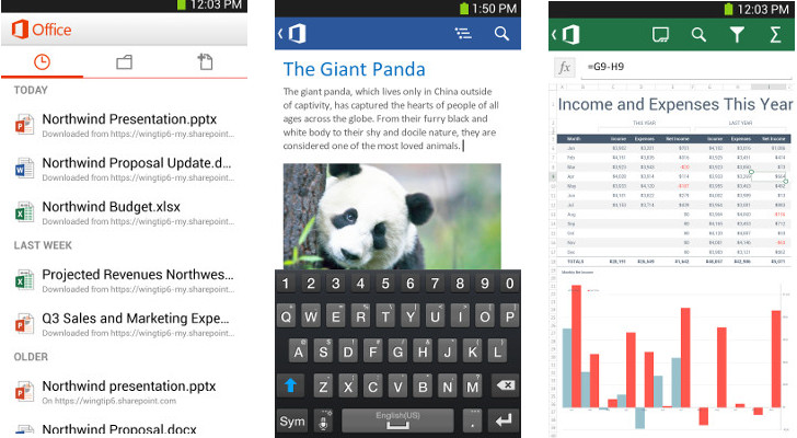 Word, Excel et PowerPoint sous Android